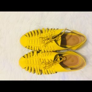 Yellow Loafers with Lace